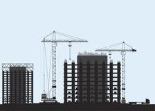 Sylwetki budynków domy Basztowy żuraw i domy monolit Płaska ilustracja eps10 royalty ilustracja