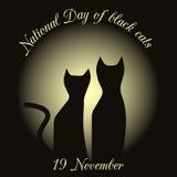 Sylwetki czarni koty na tle księżyc rysować na cześć czarnych koty w Włochy Zdjęcie Stock