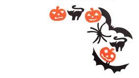 Sylwetki czarni lotni nietoperze, koty, pomarańczowe banie, koty i pająk rzeźbiący z czerń papieru, odizolowywają dalej Zdjęcia Stock
