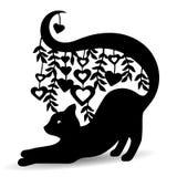 Sylwetki czerń, ozdobny kot z długim ogonem, dokąd serca ilustracja wektor