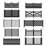 Sylwetki czerni ogrodzenia ikony set wektor Zdjęcia Stock