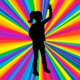 Sylwetki dancingowa istota ludzka, wektorowy muzyki bitwy przyjęcie, dyskoteka promień ilustracji