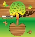 Sylwetki drzewa lato Zdjęcia Royalty Free