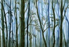 Sylwetki drzewa w mgle, mglisty las - akwareli ilustracja Obraz Stock