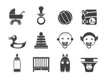 Sylwetki dziecko, dziecko i dziecko Online Sklepowe ikony, Zdjęcie Royalty Free
