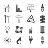 Sylwetki elektryczność, władza i energii ikony, Obraz Stock