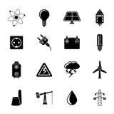 Sylwetki elektryczności i władzy przemysłu ikony Zdjęcia Royalty Free