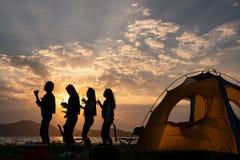 Sylwetki grupa nastoletni azjatykci dziewczyna taniec i przyjęcie z napój butelkami szczęśliwymi cieszymy się podróż camping obok obraz royalty free
