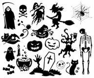 Sylwetki Halloween, set, ikona, piktogram, Vektor Fotografia Stock
