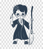 Sylwetki ikona czarownik chłopiec ilustracji