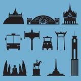 Sylwetki ikona ustawiająca Bangkok miasta punkt zwrotny Kapitał Tajlandia Zdjęcie Royalty Free