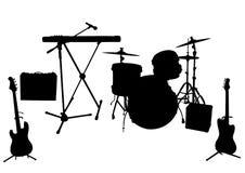 Sylwetki instrumenty muzyczni Obraz Stock