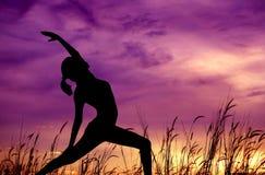 Sylwetki kobiety joga przy plenerowym parkiem. Zdjęcia Royalty Free