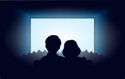 Sylwetki kochająca para przy kinem ilustracji