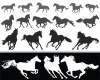 Sylwetki konie Obrazy Stock