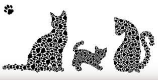 Sylwetki koty od kotów śladów Zdjęcia Royalty Free