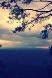 Sylwetki krajobrazowa góra z drzewem przy zmierzchem Obraz Royalty Free