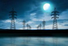 Sylwetki linie energetyczne Fotografia Stock