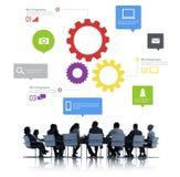 Sylwetki ludzie biznesu Dyskutuje pracę zespołową Obraz Stock