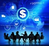 Sylwetki ludzie biznesu i zakupów pojęcia Obraz Stock