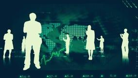 Sylwetki ludzie biznesu przeciw rynek papierów wartościowych grafika ilustracja wektor