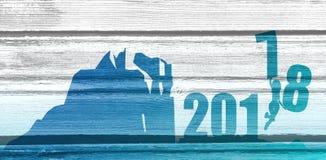 Sylwetki młoda kobieta skacze nad 2018 rok Zdjęcie Stock