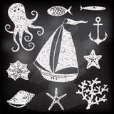 Sylwetki morze - Wręcza rysującego set denni symbole Obraz Stock