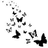 Sylwetki motyle Obrazy Stock