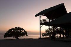 sylwetki na plaży Zdjęcie Royalty Free