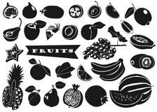 Sylwetki owoc z liśćmi na białym tle Set wektor Obraz Stock