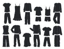 Sylwetki piżamy dla małych dziewczynek ilustracji