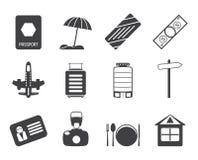 Sylwetki podróż, wakacje i wycieczek ikony, Fotografia Stock