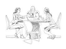 Sylwetki pomyślni ludzie biznesu pracuje na spotkaniu nakreślenie ilustracji