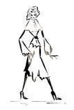 Sylwetki postać dziewczyna rysująca w atramencie Zdjęcia Royalty Free