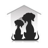 Sylwetki psy przeciw tłu psia stróżówka ilustracja wektor