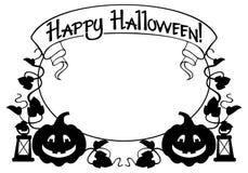 Sylwetki rama z Halloweenową banią, tekst i x22; Szczęśliwy Halloween! & x22; Fotografia Stock