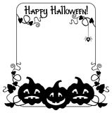 Sylwetki rama z Halloweenową banią, tekst i x22; Szczęśliwy Halloween! & x22; Obrazy Royalty Free