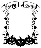 Sylwetki rama z Halloweenową banią, tekst i x22; Szczęśliwy Halloween! & x22; Obrazy Stock