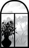 sylwetki retro okno Fotografia Royalty Free