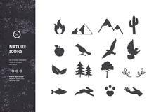 Sylwetki rośliny, zwierzęta i natura, ilustracja wektor