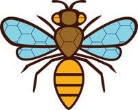 Sylwetki rysunkowa pszczoła. Na ciele i skrzydłach  Fotografia Stock