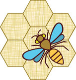 Sylwetki rysunkowa pszczoła. Tekstura tkanina. Hon Obraz Stock