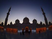 Sylwetki Sheikh Zayed meczet Obraz Stock