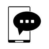 Sylwetki smartphone bąbla mowy rozmowa royalty ilustracja