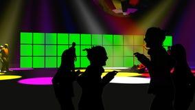 Sylwetki tanczy w noc klubie ilustracja wektor