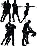 Sylwetki taniec pary Zdjęcia Royalty Free