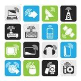 Sylwetki technologii i radia ikony Zdjęcia Stock