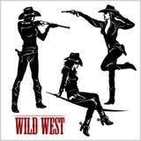 Sylwetki Zachodni Cowgirls również zwrócić corel ilustracji wektora Obrazy Royalty Free
