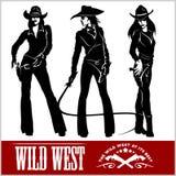 Sylwetki Zachodni Cowgirls również zwrócić corel ilustracji wektora Fotografia Stock