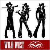 Sylwetki Zachodni Cowgirls również zwrócić corel ilustracji wektora Obrazy Stock